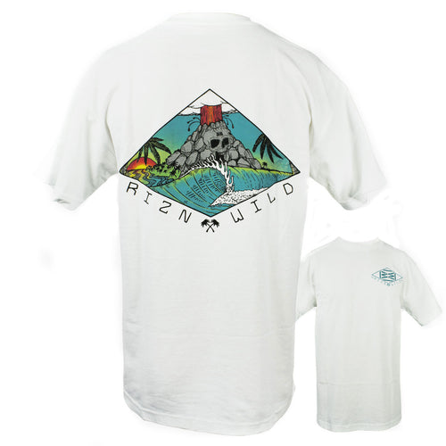 RIZNWILD | Men's Skull Cano Island style men's white t-shirt.
