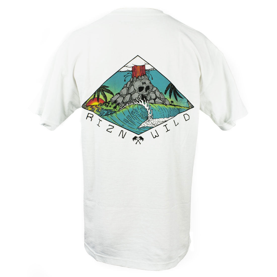 RIZNWILD | Back of men's t-shirt exploding volcano design | Skullcano