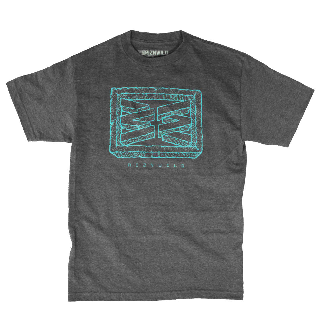 RIZNWILD | men's charcoal heather tee baby blue logo