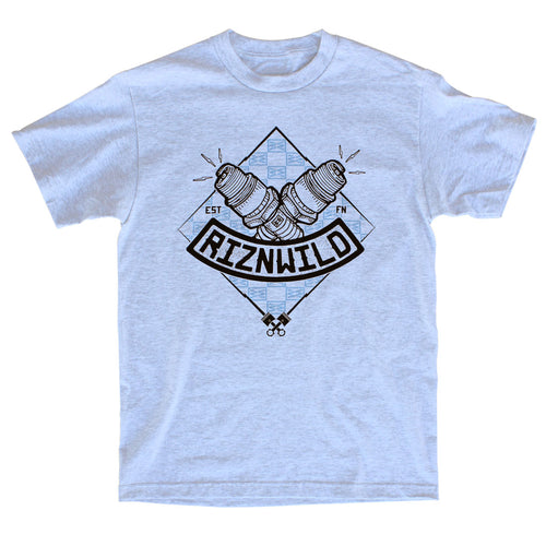 RIZNWILD | Men's ash t-shirt diamond spark plug logo
