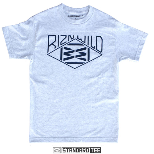 RIZNWILD | Men's mountain style logo on a ash t-shirt