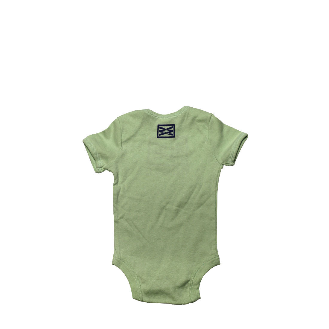 RIZNWILD | adorable baby romper back view with small logo screen printed.