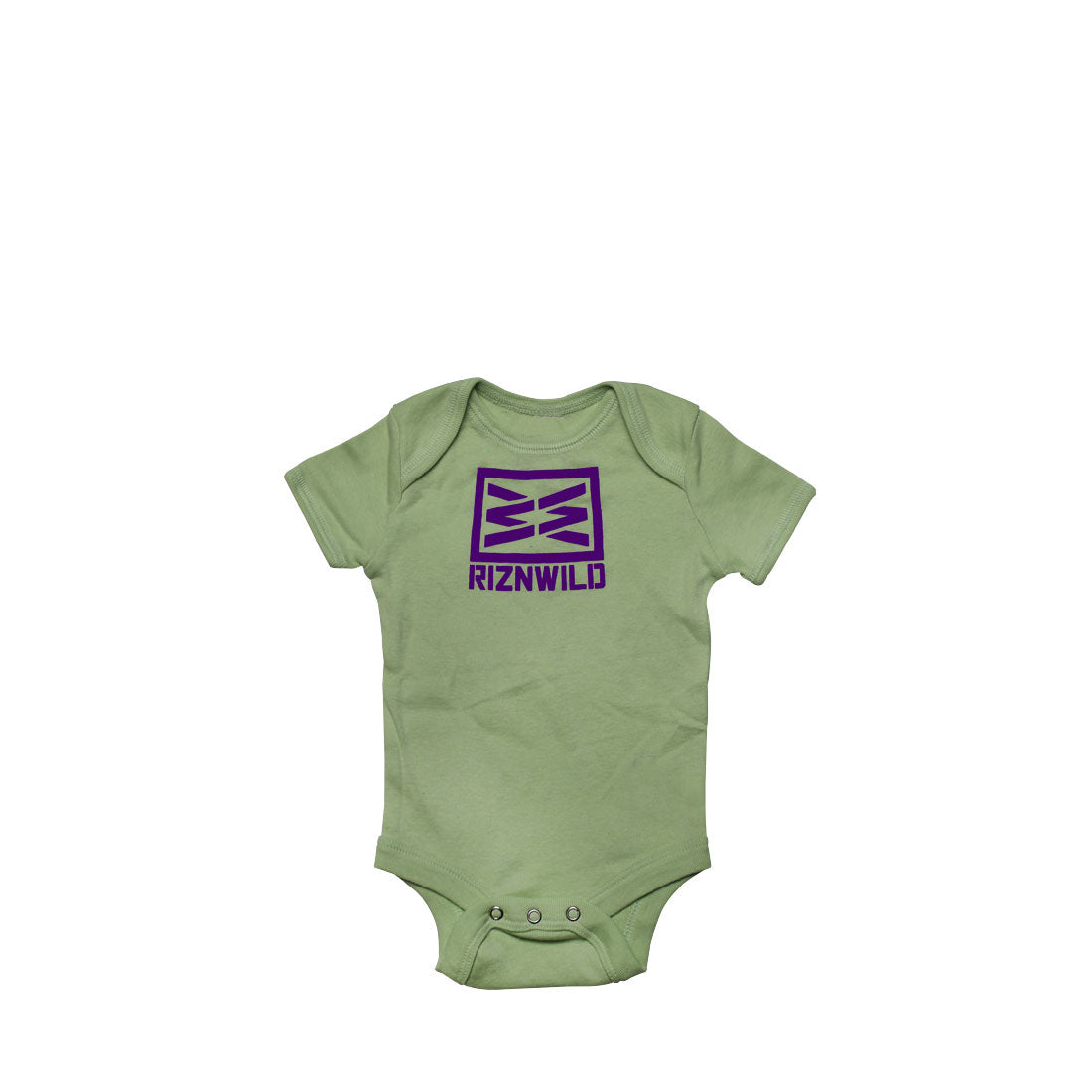 RIZNWILD | baby onesie, color pale green, purple screen printed logo