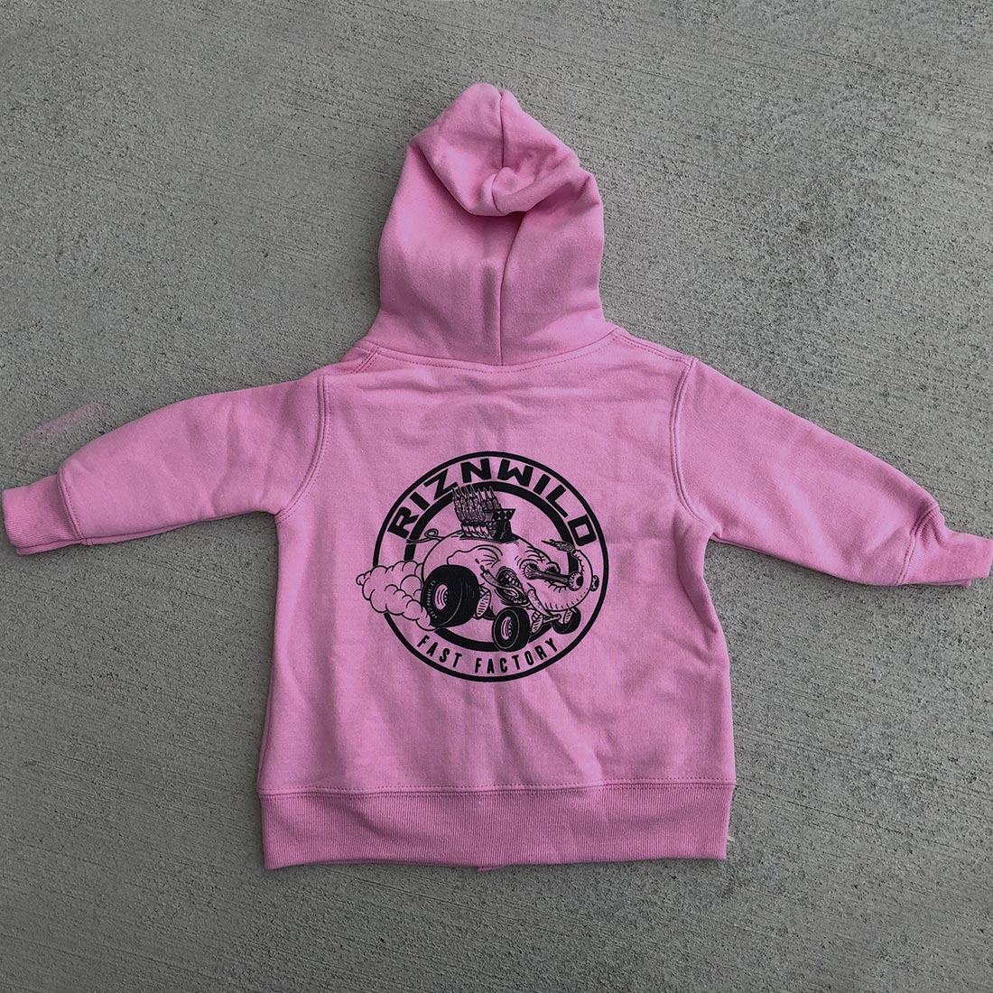 RIZNWILD | Baby girl's pink zip up sweatshirt with elephant on back