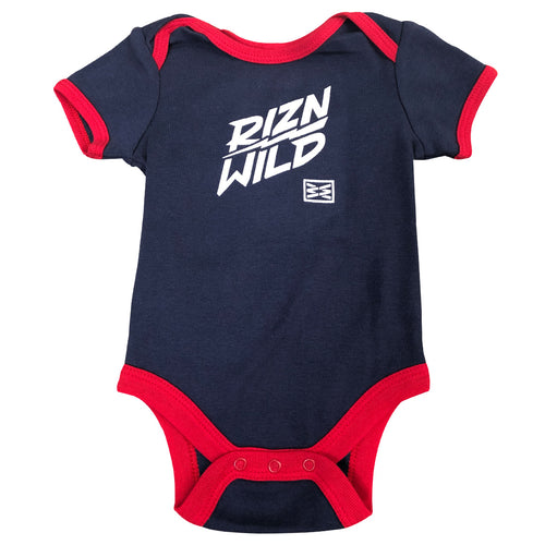 SLIDE BABY ONESIE NAVY/RED