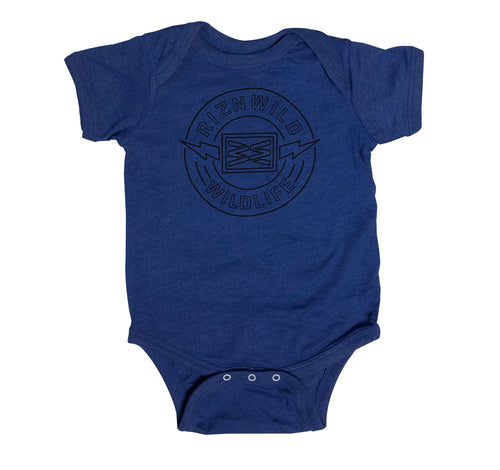 WILDLIFE BABY ONESIE IN ROYAL HEATHER