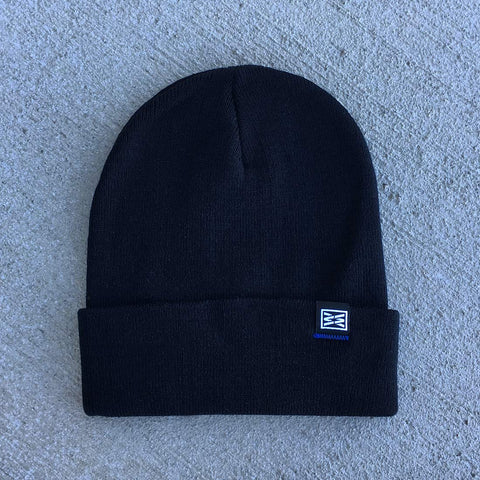 Rule Cuffed Pom Pom Beanie in Dark Heather Grey/Black