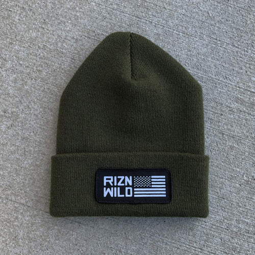 RIZNWILD | American Flag patch on a olive green cuff beanie