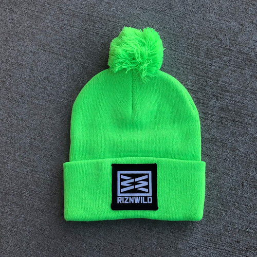 RIZNWILD | Neon Green pom pom cuffed beanie with a patch