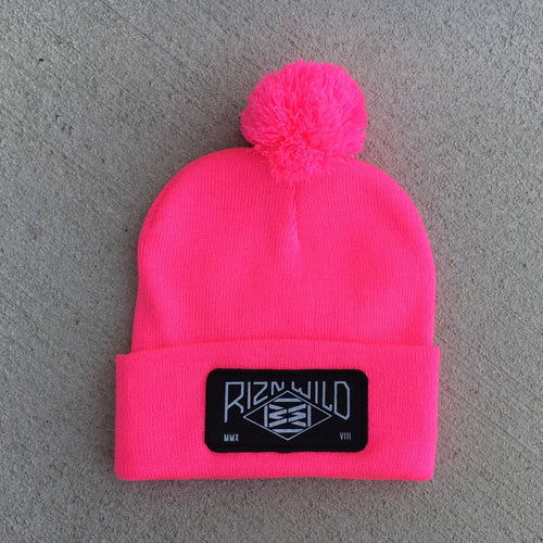 RIZNWILD | Hot Pink pom pom beanie with black patch on front