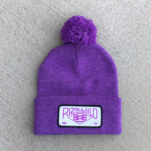 RIZNWILD | Girls heather purple pom pom beanie with patch