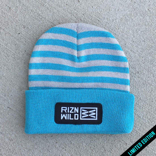RIZNWILD | striped baby blue and grey cuffed beanie
