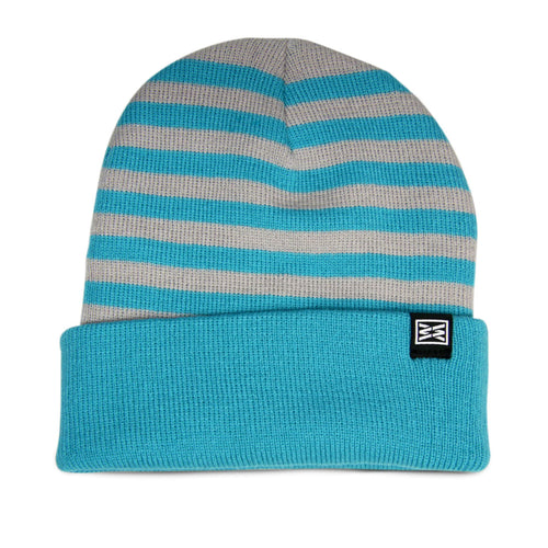 Division Cuffed Beanie in Grey/Baby Blue
