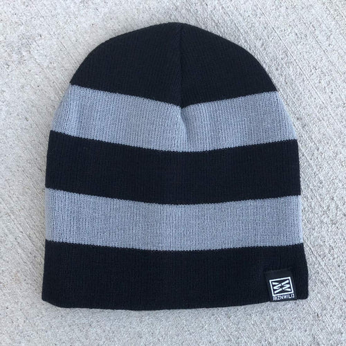 Pow Beanie in Black/Grey Striped