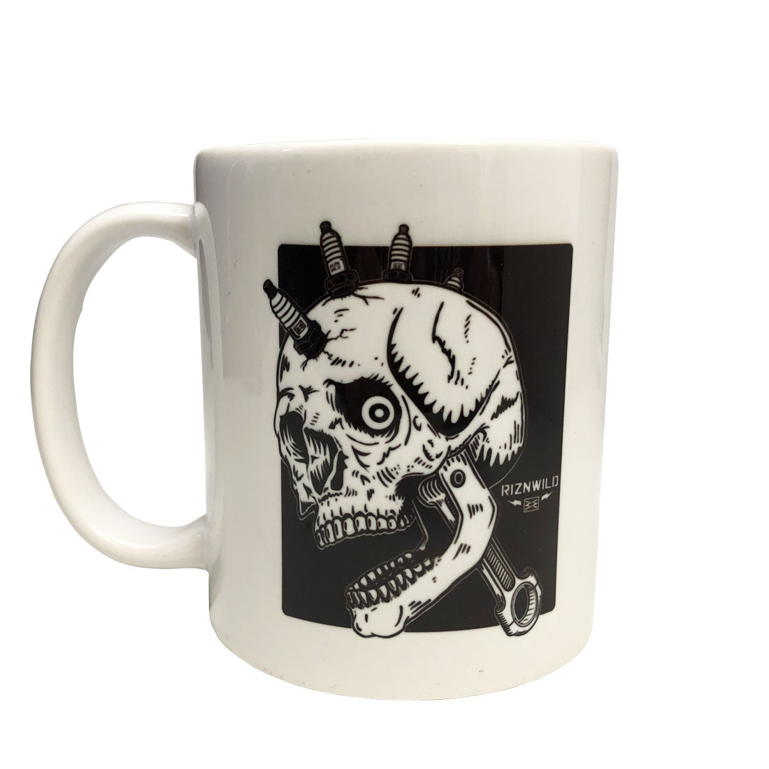 RIZNWILD | Moto head coffee mug spark plugs biker