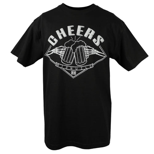 RIZNWILD | Cheers skull hands cheering two beer mugs men's t-shirt