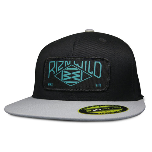 Range Blk/Turquoise 210 Flat Bill Fitted Hat in Black/Silver