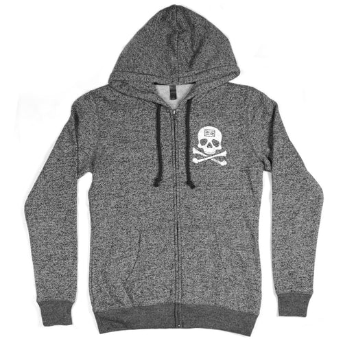 RIZNWILD | Jolly Roger Girls Zip Up Sweatshirt in Marled Black