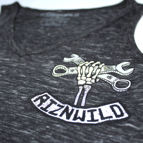 Wrench Twist Girls Flowy v-neck Tank in black marble