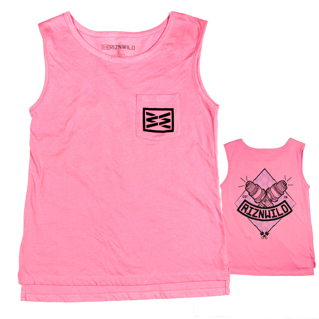 Combust Girls Muscle Pocket Tank in Pink