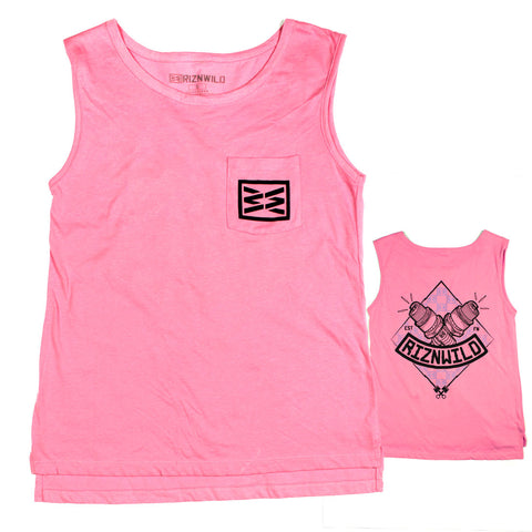 Tankabago Mens Ultras Soft Tank in Dusty Rose / Cool Grey