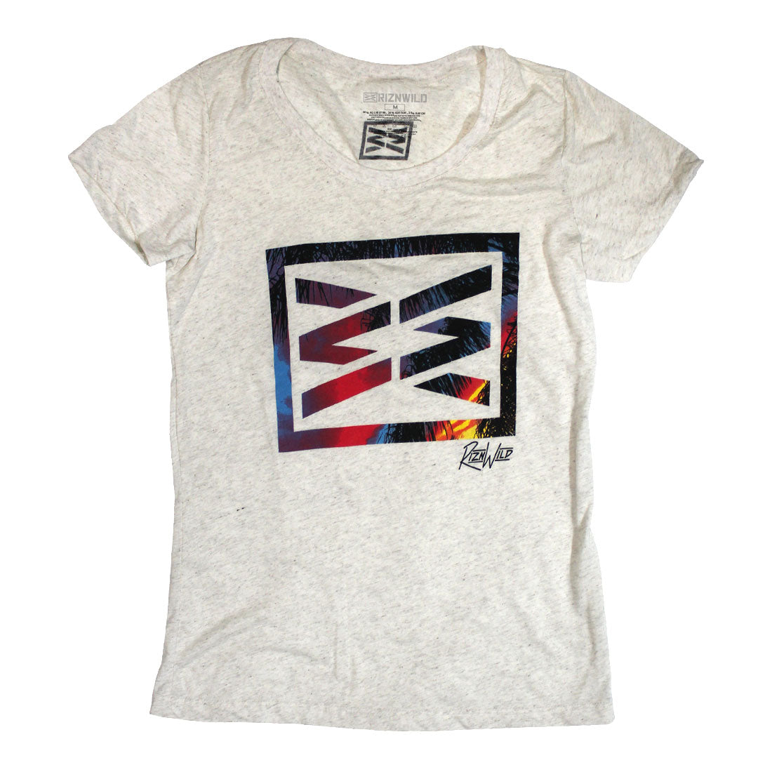 RIZNWILD | Girls soft tee in the color oatmeal bright color screen print on the front