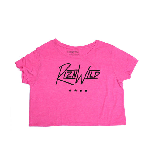 Stripe Girls Relaxed Crop Tee in Fuchsia Frost