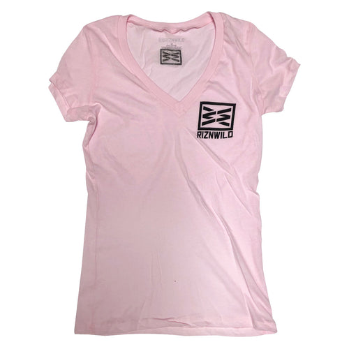 RIZNWILD | Girls Made in the USA Deep V-Neck Tee in pink