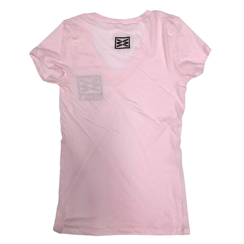 RIZNWILD | Girls v-neck pink with black ink made in the usa clothing