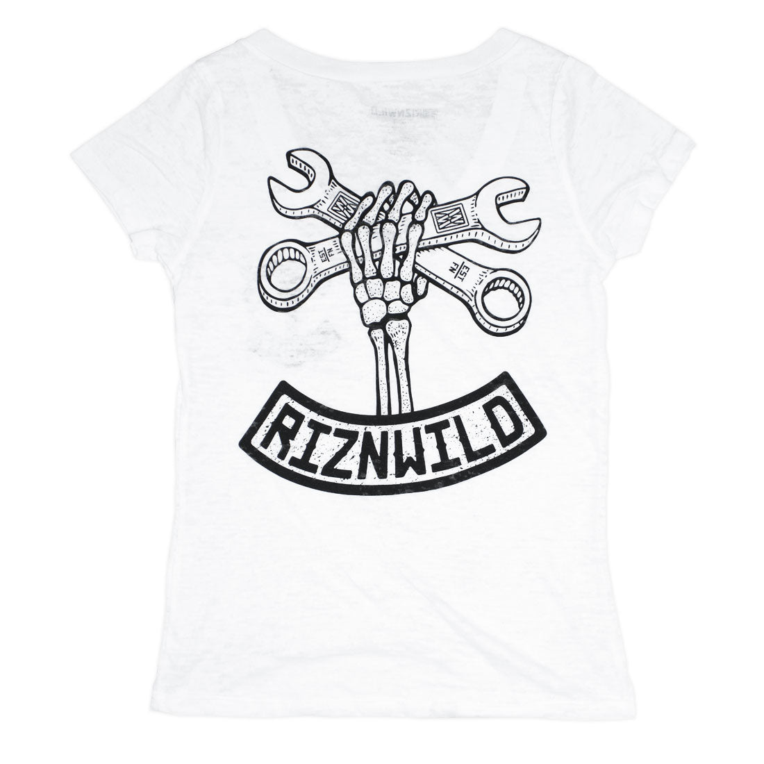 Wrench Twist Girls Burnout v-neck tee in white