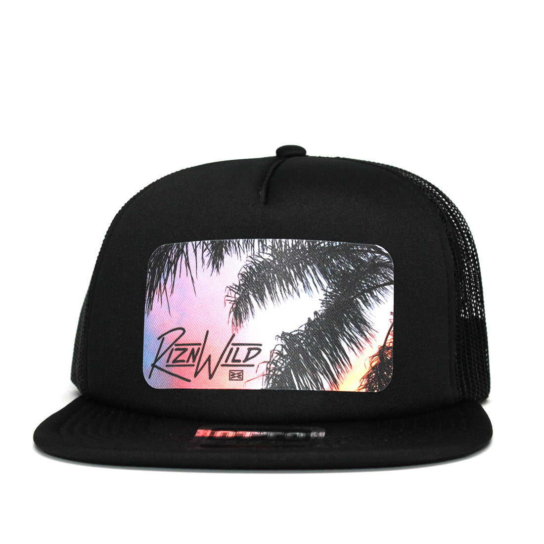 RIZNWILD | Sunset and palm tree colorful patch design on a truck hat