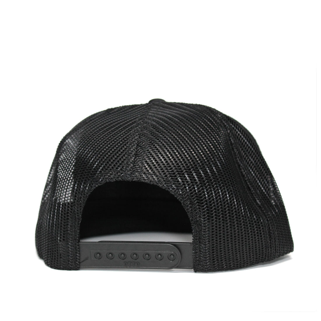 RIZNWILD | black trucker hat back of hat showing snap