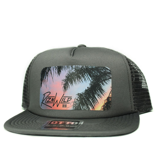 RIZNWILD | Flat bill palm tree trucker hat in charcoal