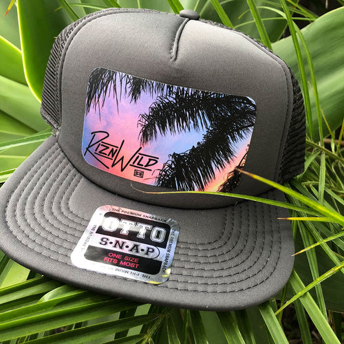 RIZNWILD | Cool flat bill trucker hat with sunset design