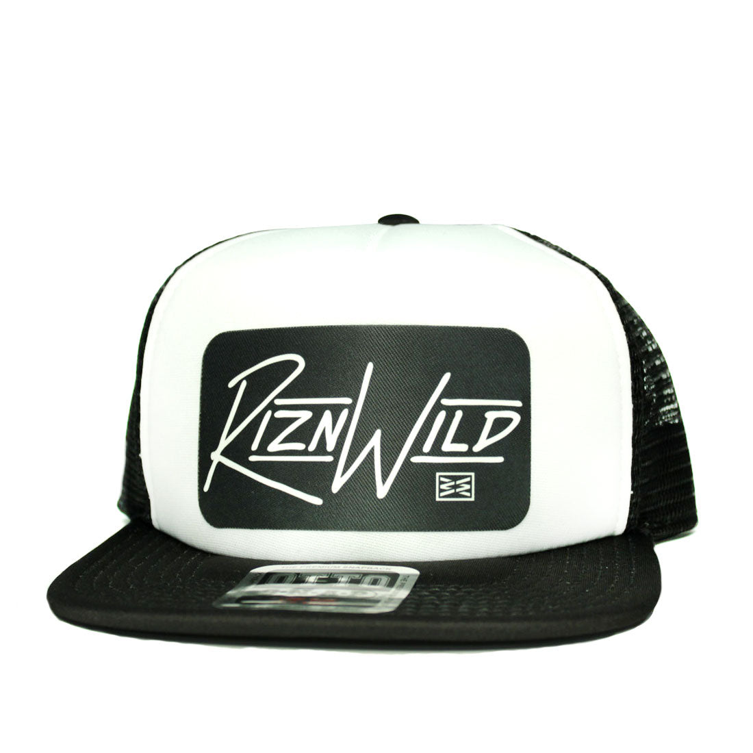 RIZNWILD | Men's flat bill trucker hat with patch black and white cap