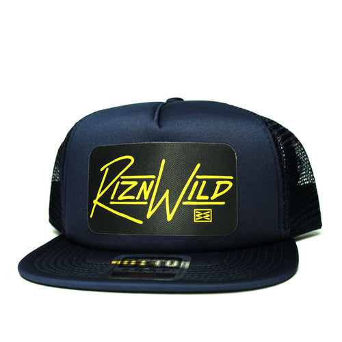 RIZNWILD | flat bill trucker hat color combo navy and gold captain colors