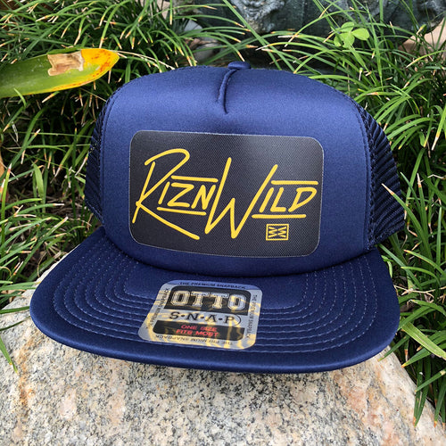 RIZNWILD | trucker hat navy and yellow hat patch