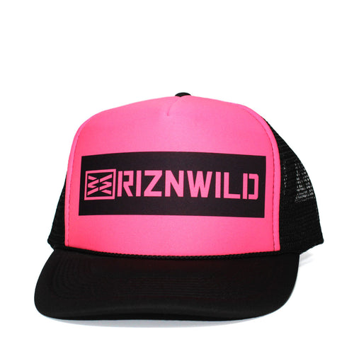 RIZNWILD | Girls Hot pink and black curved bill trucker hat graphic heat press