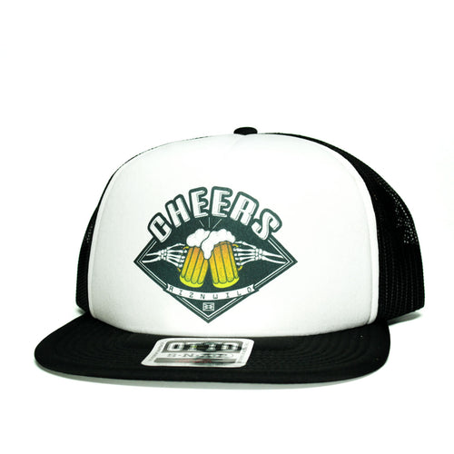 Cheers Flat Bill Trucker Hat in White Black