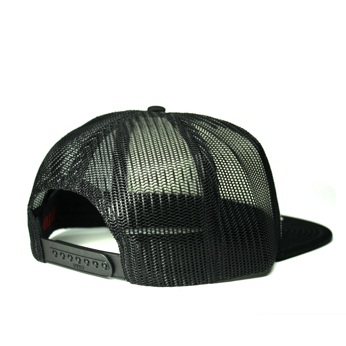Black and white trucker hat back view | RIZNWILD