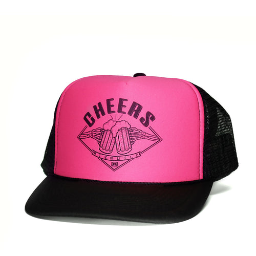 Cheers Curved Bill Trucker Hat in Pink Black
