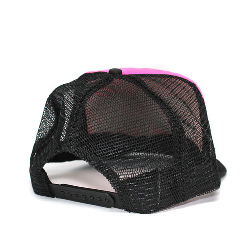 Back of RIZNWILD hot pink and black foam snap trucker hat
