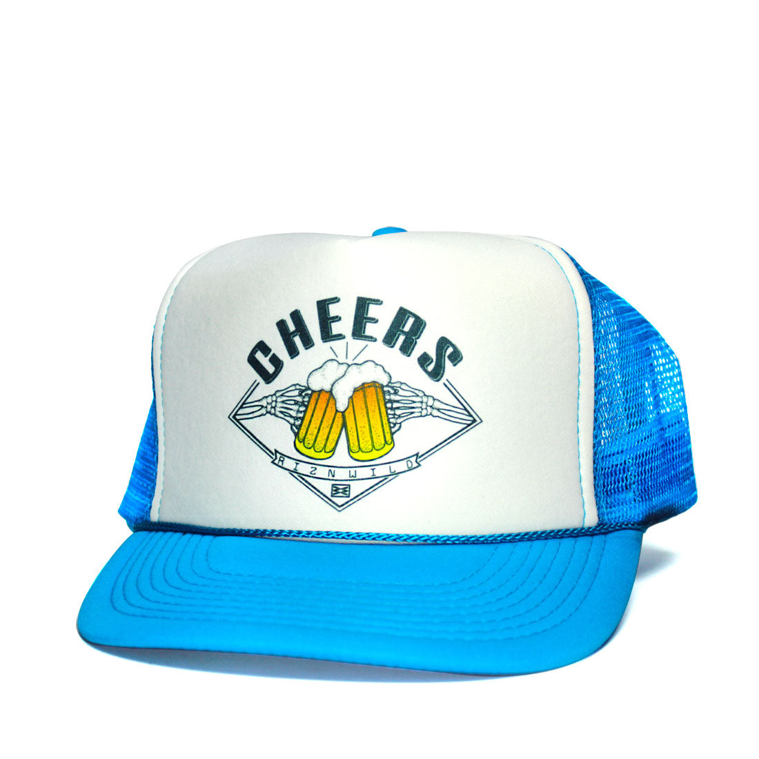 Cheers beer clinging trucker hat blue and white | RIZNWILD