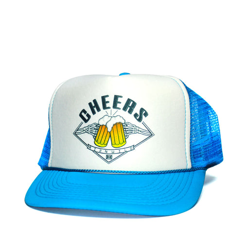 Cheers Curved Bill Trucker Hat in Blue White