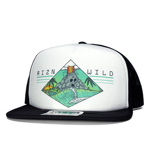 RIZNWILD | Unisex fit skullcano trucker hat colorful cool island logo