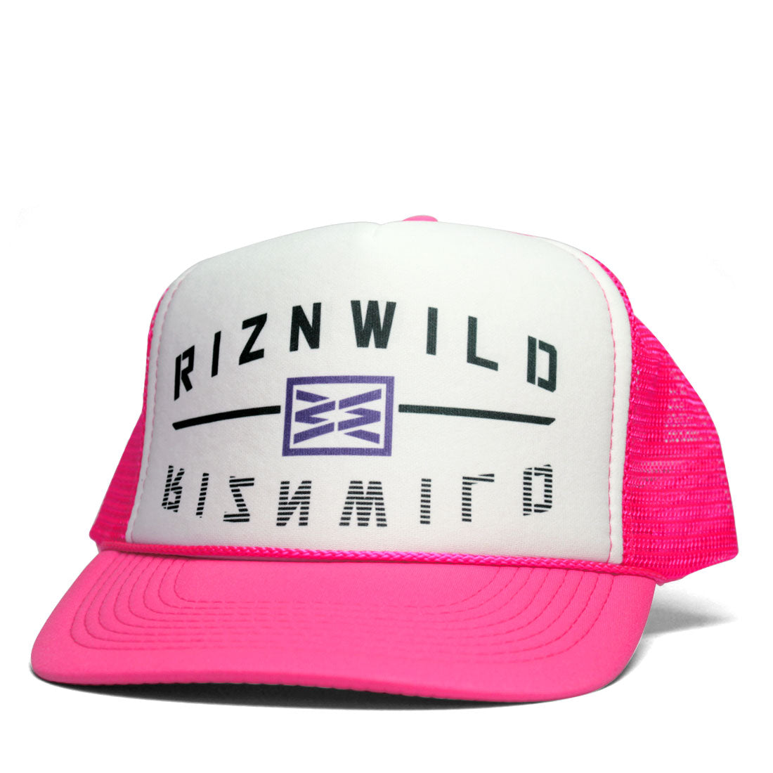 Rewind Curved Bill Trucker Hat in Hot Pink/White