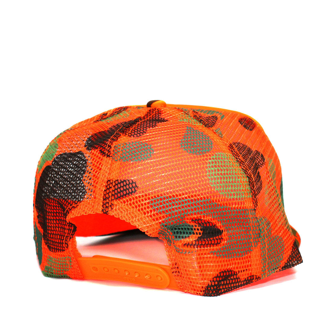 Rewind Curved Bill Trucker Hat in Neon Orange Camo