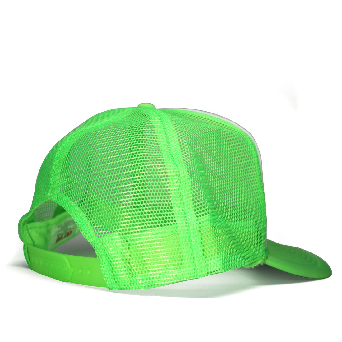 Skullcano Curved Bill Trucker Hat in Neon Green/White