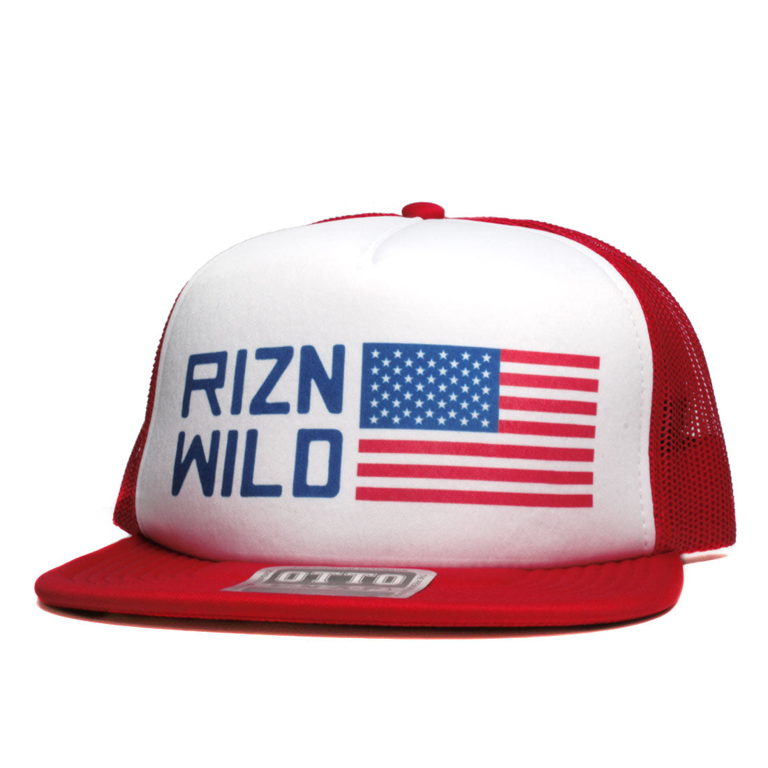 Patriot Flat Bill Otto Snap Trucker Hat in Red White