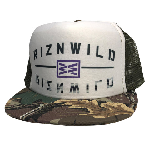 The Hunted Curved Bill Trucker Hat in Neon Camo